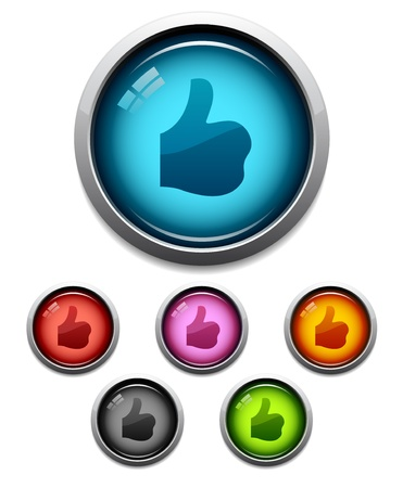 like button: Glossy thumbs-up like button icon set in 6 colors