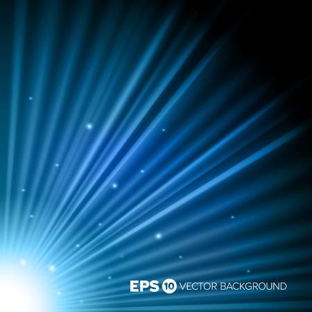 Corner light burst over a blue background