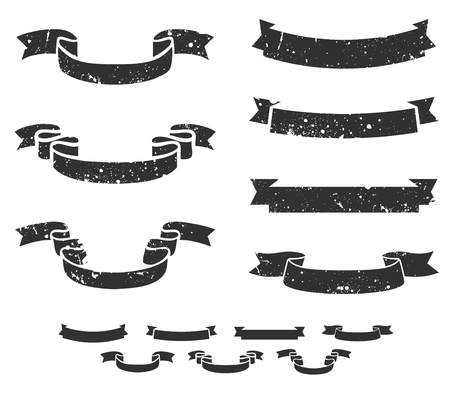 Set of distressed grunge scroll banners, includes non-grunge shapes Illustration