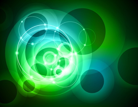 Modern abstract green ring tech background with light effect Vectores