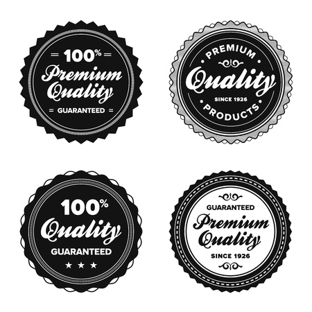 Set of vintage retro premium quality badges and labels Vector