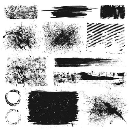 Set van grunge verfspatten en krassen elementen Stock Illustratie