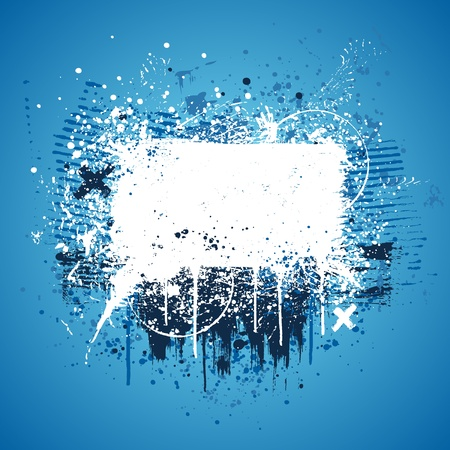 graffiti background: Blue and white grunge paint splatter background design