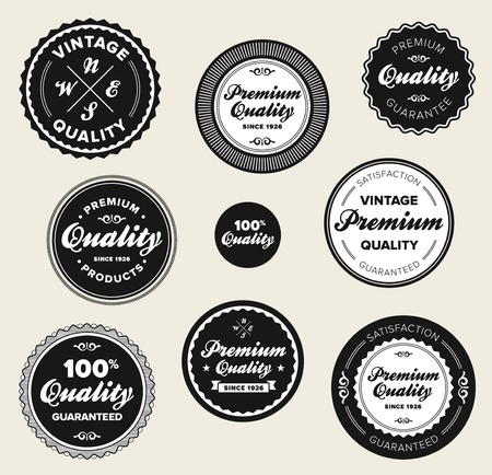 Juego de insignias de época retro de primera calidad y etiquetas