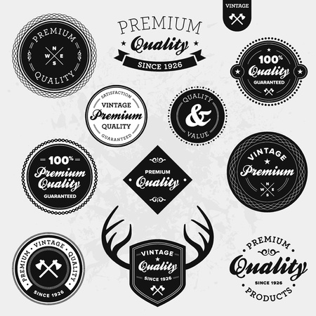 shield: Set of vintage retro premium quality badges and labels