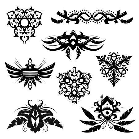 Set of 8 tribal polynesian designs and elements Ilustrace