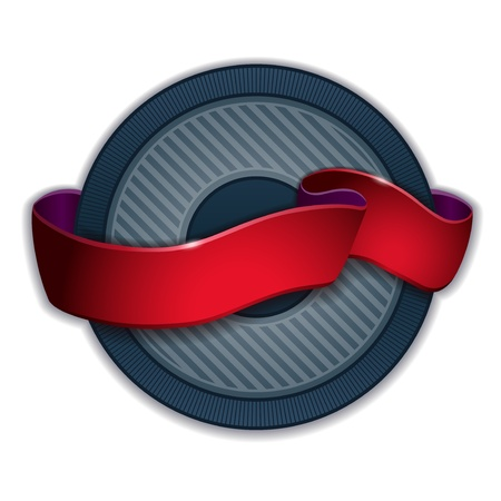 patch of light: Round emblem design with red ribbon light effect
