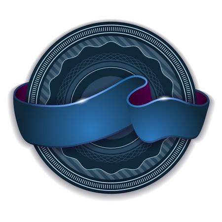 Round emblem design with blue ribbon light effect