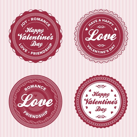 Set of vintage valentine labels Vector