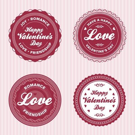 Set of vintage valentine labels Vector