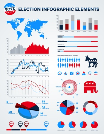 vote: Set of election infographic charts, icons, and design elements