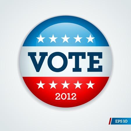 urne: Vota il pulsante campagna elettorale distintivo per il 2012 Vettoriali