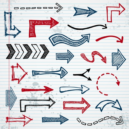 drawing arrow: Set of sketched arrow shapes on notepad background Illustration