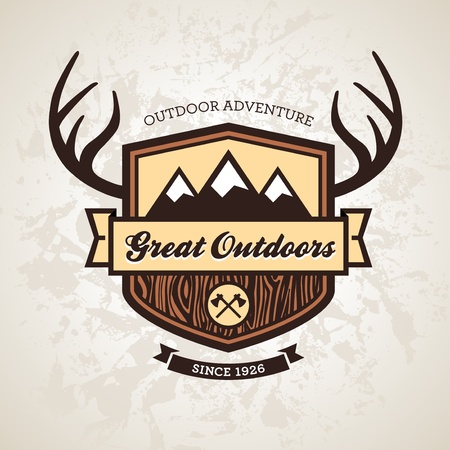 Wood themed outdoors emblem with mountains and antlers Vector