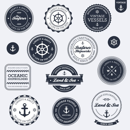 steering: Set of vintage retro nautical badges and labels