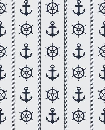 Naadloze blauwe nautische achtergrond patroon ontwerp