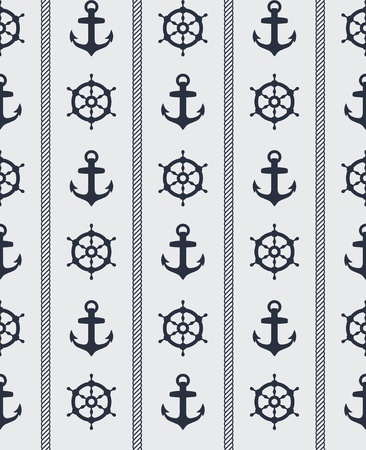 Seamless blue nautical background pattern design Vector