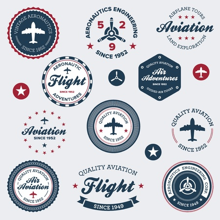 Set of vintage retro aeronautics flight badges and labels