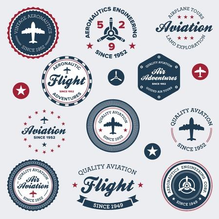 Set van vintage retro luchtvaart vlucht badges en labels Stock Illustratie