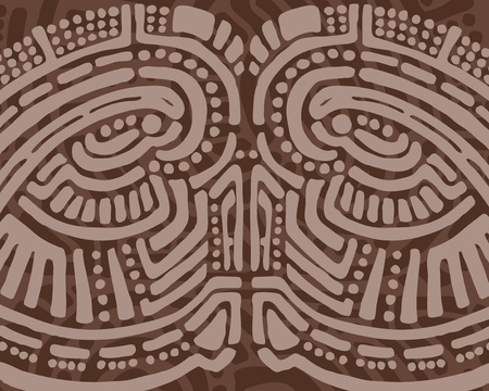 Brown tribal design background of an abstract face Vector