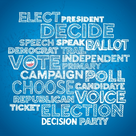 Sketched hand drawn election text design background Ilustrace