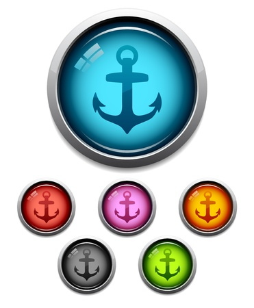 Glossy anchor button icon set in 6 colors Vectores