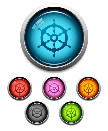 Glossy ship wheel button icon set in 6 colors Vector