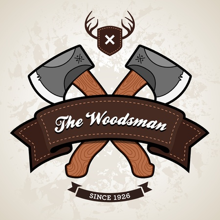 Outdoor themed emblem with axe and ribbon graphic