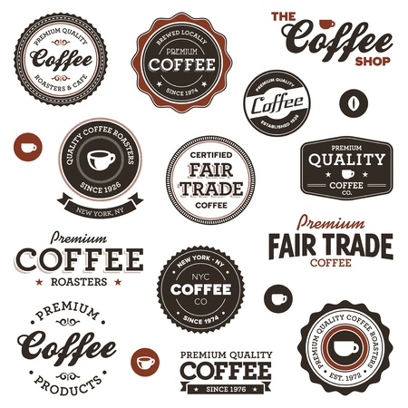 Set of vintage retro coffee badges and labels Vettoriali