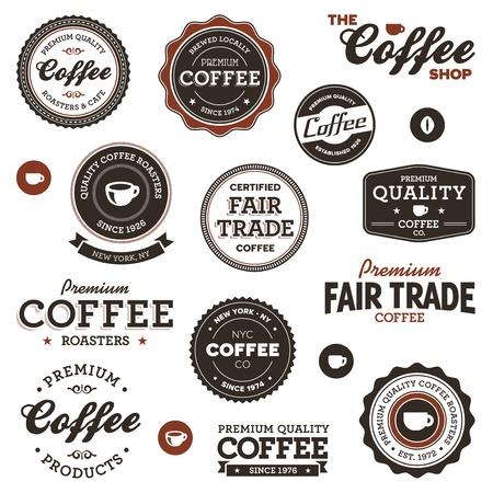 Set mit Retro Kaffee Abzeichen und Etiketten Standard-Bild - 12106457
