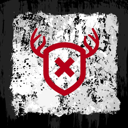 Red antler shield emblem on a gray grunge background Stock Vector - 12106458
