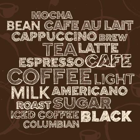 コーヒーとカフェの用語の手描きテキストのレタリング