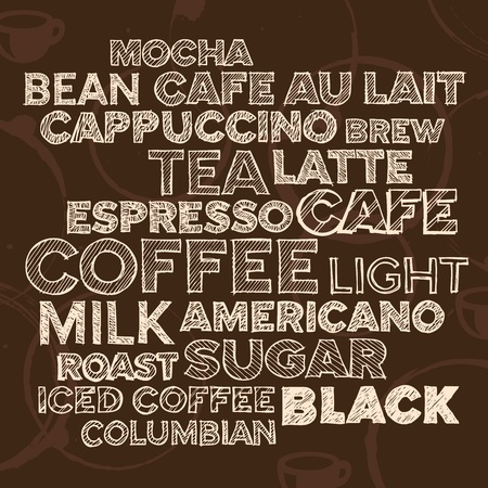 Hand drawn text lettering of coffee and cafe terms