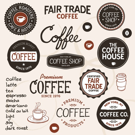 type lettering: Set of retro and drawn coffee badges and elements Illustration