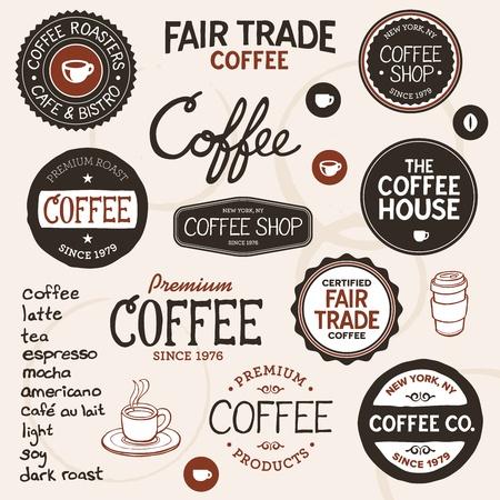 Set van retro en getrokken koffie badges en elementen Stock Illustratie