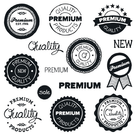 Set of hand-drawn vintage premium quality badges and labels Vector