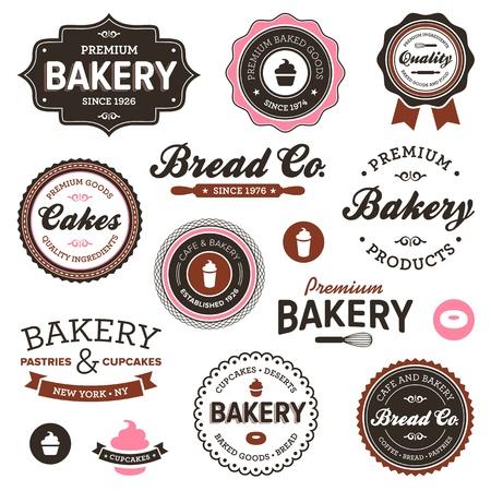 vendimia: Juego de insignias vintage, retro, de panadería y etiquetas Vectores
