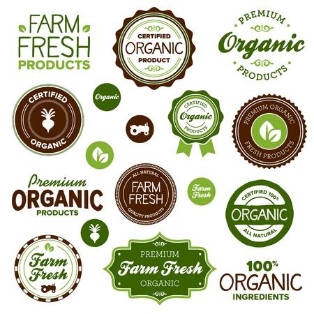 Állítsa be a szerves és mezőgazdasági friss élelmiszerek jelvények és címkék