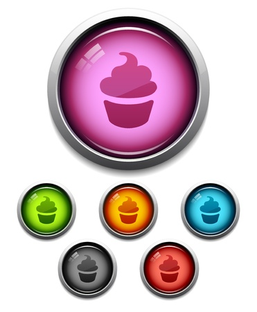 광택 컵 케이크 버튼 아이콘 6 색 설정