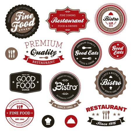 food label: Set of vintage retro restaurant badges and labels