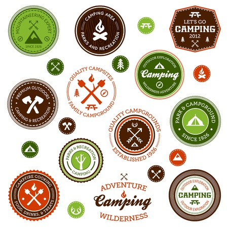 Set of retro camping and outdoor adventure badges and labels Illusztráció