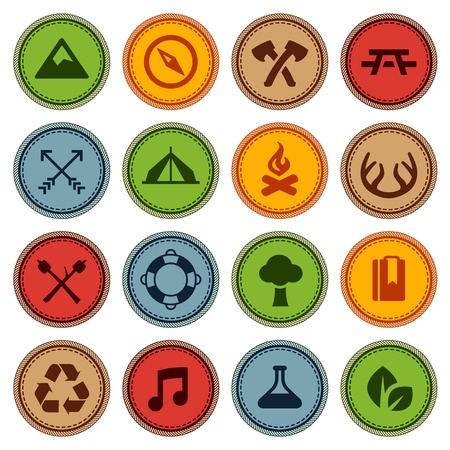 camp: Set of merit achievement badges for outdoor activities