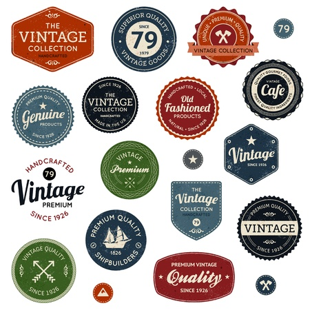 Set of retro vintage badges and labels with texture Çizim