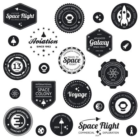 Állítsa be a retro és modern űrutazás jelvények és címkék