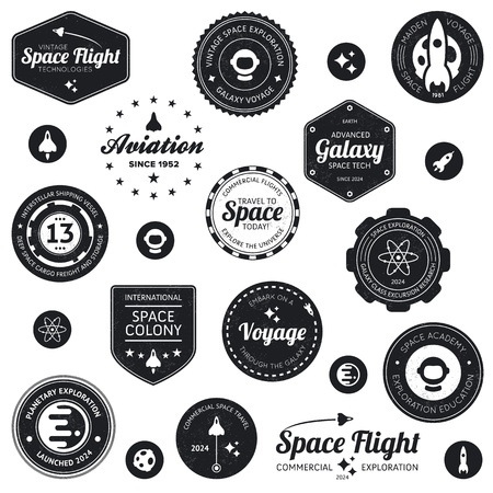 Set of retro and modern space travel badges and labels Reklamní fotografie - 13221823