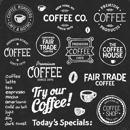Set of coffee shop sketches and text symbols on a chalkboard background Ilustração