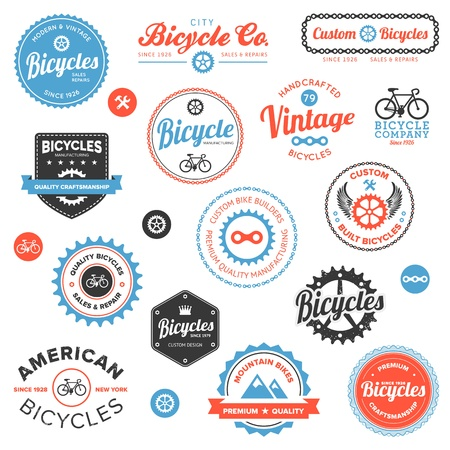 bicyclette: Jeu de vintage et modernes badges magasin de v�los et des �tiquettes Illustration