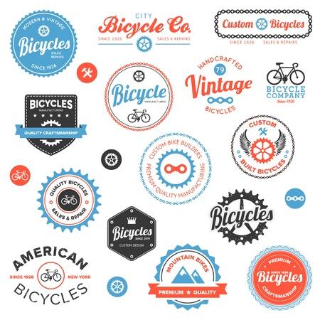 fietsketting: Set van klassieke en moderne fietsenwinkel badges en labels