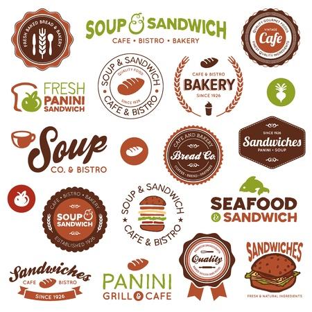 bocadillo: Juego de tienda de s�ndwiches cl�sicos y modernos y las etiquetas de caf� bistro Vectores