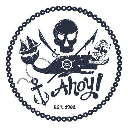 barco pirata: Cráneo de estilo vintage náutica y el diseño de ballenas